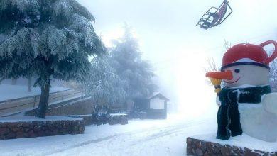 Photo of الثلوج تتساقط بكميات كبيرة على جبل الشيخ وتكسوه بالأبيض